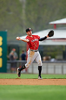 Erie SeaWolves second baseman Will Maddox (31) throws to first base during a game against the Binghamton Rumble Ponies on May 14, 2018 at NYSEG Stadium in Binghamton, New York.  Binghamton defeated Erie 6-5.  (Mike Janes/Four Seam Images)