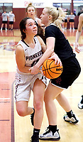 Westside Eagle Observer/RANDY MOLL<br /> Gentry's Ahrya Reding attempts to get under the basket for a shot during play against Pea Ridge in Gentry on Friday, Jan. 31, 2020.