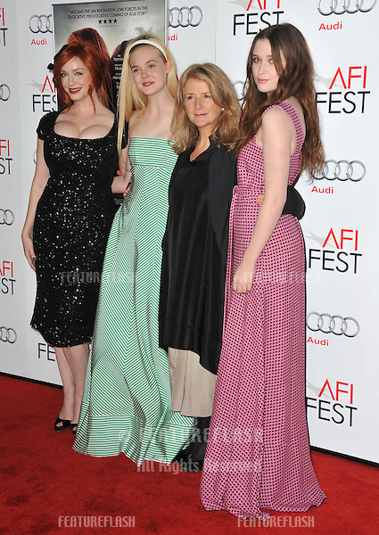 "Christina Hendricks (left), Elle Fanning, director Sally Potter & Alice Englert at the AFI Fest 2012 premiere of their movie ""Ginger and Rosa"" at Grauman's Chinese Theatre, Hollywood..November 7, 2012  Los Angeles, CA.Picture: Paul Smith / Featureflash"
