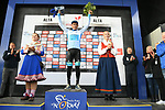 Sergei Chernetski Astana Pro Team wins the overall general classification at the end of Stage 4 of the 2018 Artic Race of Norway, running 145.5km from Kvalsund to Alta, Norway. 18th August 2018. <br /> <br /> Picture: ASO/Pauline Ballet | Cyclefile<br /> All photos usage must carry mandatory copyright credit (© Cyclefile | ASO/Pauline Ballet)