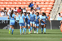 Houston, TX - Saturday May 13, 2017: Sky Blue FC midfielder Nikki Stanton (7) celebrates with teammates after a goal scored by Sky Blue FC forward Samantha Kerr (20) during a regular season National Women's Soccer League (NWSL) match between the Houston Dash and Sky Blue FC at BBVA Compass Stadium. Sky Blue won the game 3-1.