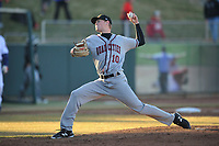 Quad Cities River Bandits pitcher Cole Watts (10) throws a pitch against the Cedar Rapids Kernels at Veterans Memorial Stadium on April 7, 2018 in Cedar Rapids, Iowa. The Kernels won 4-3.  (Dennis Hubbard/Four Seam Images)