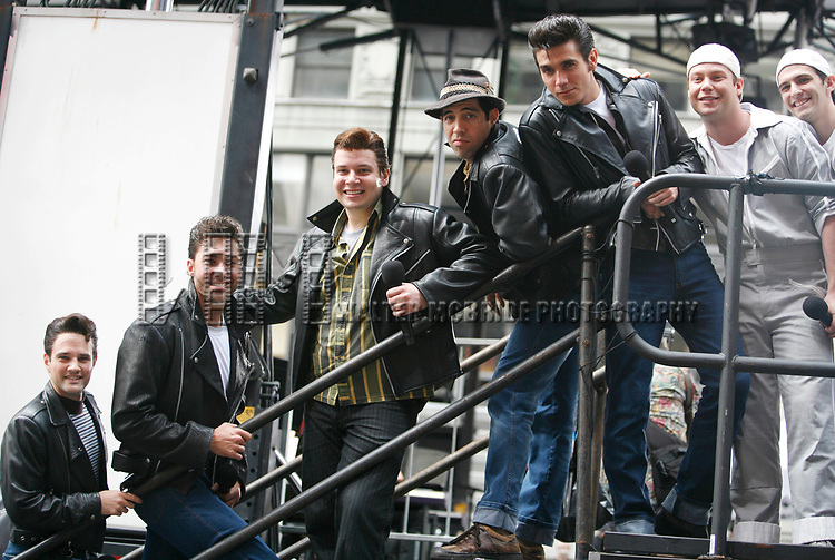 Ryan Patrick Binder & Ace Young & Keven Quillon, Jose Restrepo & Derek Keeling ( GREASE ) attending BROADWAY on BROADWAY 2008 in Times Square, New York City.<br />September 14, 2008