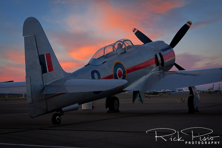 "Hawker Sea Fury ""Dreadnought"" sits on the Stead ramp at sunset."