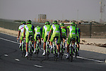 Liquigas-Cannondale team warms up before the 2nd Stage of the 2012 Tour of Qatar a team time trial at Lusail Circuit, Doha, Qatar, 6th February 2012 (Photo Eoin Clarke/Newsfile)