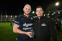 Sky Sports Man of the Match Matt Garvey of Bath Rugby poses for a photo after the match. European Rugby Challenge Cup match, between Bath Rugby and Bristol Rugby on October 20, 2016 at the Recreation Ground in Bath, England. Photo by: Patrick Khachfe / Onside Images