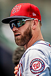 1 August 2018: Washington Nationals infielder Bryce Harper stands in the dugout prior to facing the New York Mets at Nationals Park in Washington, DC. The Nationals defeated the Mets 5-3 to sweep the 2-game weekday series. Mandatory Credit: Ed Wolfstein Photo *** RAW (NEF) Image File Available ***