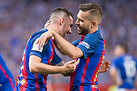 Deportivo Alaves's XXX and FC Barcelona's forward Paco Alcacer and defender Jordi Alba during Copa del Rey (King's Cup) Final between Deportivo Alaves and FC Barcelona at Vicente Calderon Stadium in Madrid, May 27, 2017. Spain.<br /> (ALTERPHOTOS/BorjaB.Hojas) /NortePhoto.com