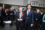 © Joel Goodman - 07973 332324 . 31/01/2014 . Manchester , UK . Leader of the Labour Party , Ed Miliband (r) and Mike Kane (c) after Ed Miliband delivered a speech and Q&A at Wythenshawe Forum this afternoon (31st January 2014) as the party continues to campaign for Mike Kane in the upcoming Wythenshawe and Sale East by-election , following the death of Paul Goggins . Photo credit : Joel Goodman