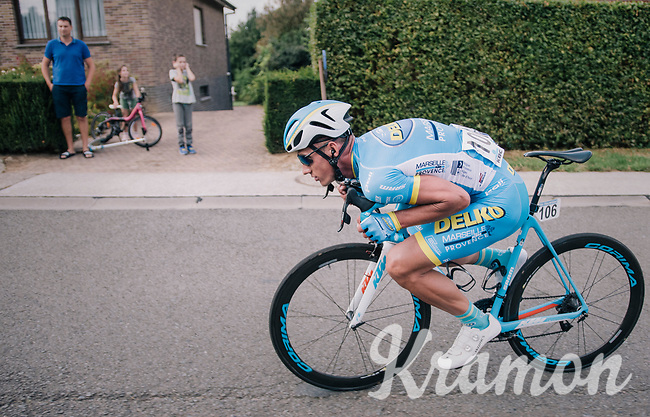 Gatis Smukulis (LAT/Delko Marseille Provence KTM) in the tuck position<br /> <br /> 98th Brussels Cycling Classic 2018<br /> One Day Race:  Brussels > Brussels (201km)