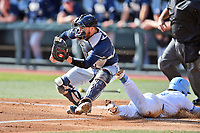 Pittsburgh Panthers catcher Cole MacLaren (43) fields the ball as Kyle Datres (3) slides in safely during a game against the North Carolina Tar Heels at Boshamer Stadium on March 17, 2018 in Chapel Hill, North Carolina. The Tar Heels defeated the Panthers 4-0. (Tony Farlow/Four Seam Images)
