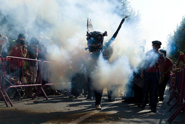 Vilafranca del Pnedes, Barcelona, Catalonia, childrens day, Joel carries the dragon