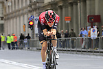 Pavel Sivakov (Rus) Team Ineos heads out for a practice run before Stage 1 of the 2019 Giro d'Italia, an individual time trial running 8km from Bologna to the Sanctuary of San Luca, Bologna, Italy. 11th May 2019.<br /> Picture: Eoin Clarke | Cyclefile<br /> <br /> All photos usage must carry mandatory copyright credit (© Cyclefile | Eoin Clarke)