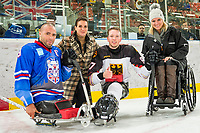 19th November 2019, Berlin, Germany. World Para Ice Hockey Championships, Germany versus Great Britain;  LE GALLOUDEC Jonathon, Katarina Witt, Felix Schrader and Kirsten Bruhn