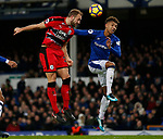 Laurent Deporte of Huddersfield Town gets a header on target past Mason Holgate of Everton during the premier league match at the Goodison Park Stadium, Liverpool. Picture date 2nd December 2017. Picture credit should read: Simon Bellis/Sportimage