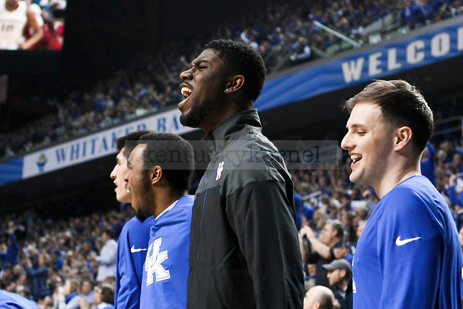 Kentucky forward Alex Poythress celebrates a big play during the first half of the University of Kentucky vs. Arkansas at Rupp Arena in Lexington , Ky., on Saturday, February 28, 2015. Photo by Jonathan Krueger | Staff