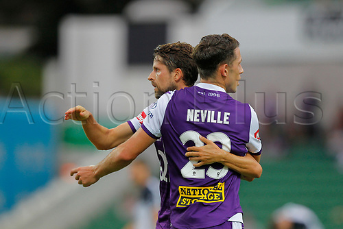 25th March 2018, nib Stadium, Perth, Australia; A League football, Perth Glory versus Melbourne Victory; Scott Neville of the Perth Glory celebrates Andy Keoghs first half goal with Xavi Torres
