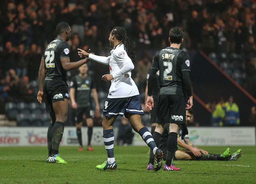 Preston North End's Daniel Johnson celebrates scoring his sides first goal <br /> <br /> Photographer Mick |Walker/CameraSport<br /> <br /> Football - The Football League Sky Bet League One - Preston North End v Peterborough United - Tuesday 17th March 2015 - Deepdale - Preston<br /> <br /> &copy; CameraSport - 43 Linden Ave. Countesthorpe. Leicester. England. LE8 5PG - Tel: +44 (0) 116 277 4147 - admin@camerasport.com - www.camerasport.com