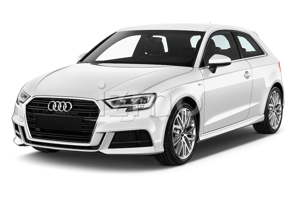 2017 Audi A3 Sport 3 Door Hatchback Angular Front stock photos of front three quarter view