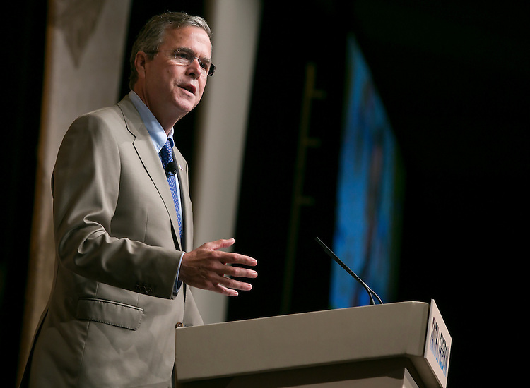 UNITED STATES - JUNE 19- Republican presidential candidate, former Florida Gov. Jeb Bush, speaks at the Faith & Freedom Coalition's Road to Majority conference which featured speeches by conservative politicians at the Washington D.C. Omni Shoreham Hotel, June 19, 2015.(Photo By Al Drago/CQ Roll Call)