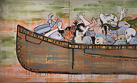 Detail from Trade Canoe for Don Quixote, 2004, acrylic, pencil, charcoal,d oil on canvas, by Jaune Quick-to-See Smith, b. 1940, American artist of Salish, Kootenai, Cree and Shoshone descent, from the William Sr and Dorothy Harmsen Collection, by exchange, in the Denver Art Museum, Denver, Colorado, USA. The image represents a traditional indian trade canoe filled with images of war from many cultures. The artist aims to enlighten the larger community about Indian affairs. Picture by Manuel Cohen