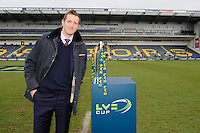 20130317 Copyright onEdition 2013©.Free for editorial use image, please credit: onEdition..LV= Ambassador Will Greenwood stands with the trophy before the LV= Cup Final between Harlequins and Sale Sharks at Sixways Stadium on Sunday 17th March 2013 (Photo by Rob Munro)..For press contacts contact: Sam Feasey at brandRapport on M: +44 (0)7717 757114 E: SFeasey@brand-rapport.com..If you require a higher resolution image or you have any other onEdition photographic enquiries, please contact onEdition on 0845 900 2 900 or email info@onEdition.com.This image is copyright onEdition 2013©..This image has been supplied by onEdition and must be credited onEdition. The author is asserting his full Moral rights in relation to the publication of this image. Rights for onward transmission of any image or file is not granted or implied. Changing or deleting Copyright information is illegal as specified in the Copyright, Design and Patents Act 1988. If you are in any way unsure of your right to publish this image please contact onEdition on 0845 900 2 900 or email info@onEdition.com