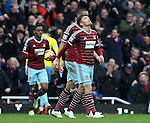 West Ham's Aaron Cresswell looks on dejected after Crystal Palace's third goal<br /> <br /> Barclays Premier League - West Ham United  vs Crystal Palace  - Upton Park - England - 28th February 2015 - Picture David Klein/Sportimage