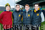 Harry Byrne, Mark Cooper, Cian McMahon and Killian Hickey, pictured at the Munster Senior Club final Dr. Crokes v St Joseph's Miltown-Malbay at the Gaelic Grounds Limerick, on Sunday last.