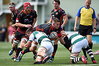 Huw Taylor of the Dragons takes on the Ealing Trailfinders defence. Pre-season friendly match, between Ealing Trailfinders and the Dragons on August 11, 2018 at the Trailfinders Sports Ground in London, England. Photo by: Patrick Khachfe / Onside Images