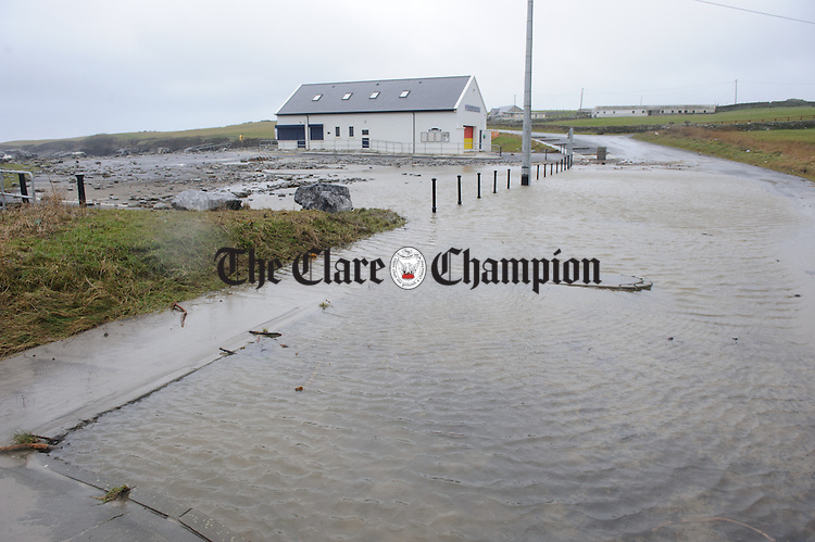 A flooded car park and road at White Strand, Miltown Malbay as a result of Storm Imogen. Photograph by John Kelly.