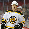 Boston Bruins Andrew Ference (21) during a game against the Carolina Hurricanes on January 28, 2013 at PNC Arena in Charlotte, NC. The Bruins beat the Hurricanes 5-3.
