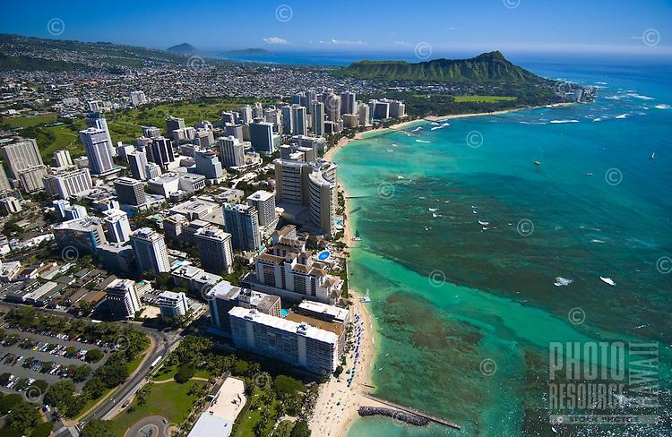 Aerial of Diamond head and Waikiki Beach with hotels, Oahu