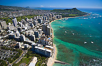 Aerial of Diamond head and Waikiki Beach with hotels, Oahu