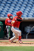 Philadelphia Phillies catcher Rafael Marchan (6) follows through on a swing during a Florida Instructional League game against the Toronto Blue Jays on September 24, 2018 at Spectrum Field in Clearwater, Florida.  (Mike Janes/Four Seam Images)