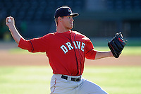 Pitcher Jamie Callahan (23) of the Greenville Drive works out on the team's Media Day first workout on Tuesday, April 1, 2014, at Fluor Field at the West End in Greenville, South Carolina. Callahan, from Hamer, S.C., was a 2nd Round pick of the Boston Red Sox in the 2012 First-Year Player Draft. (Tom Priddy/Four Seam Images)