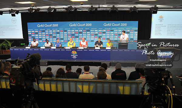 A general view of the press conference. Team Scotland press conference. Main press centre. Gold Coast 2018. Queensland. Australia. 04/04/2018. ~ MANDATORY CREDIT Garry Bowden/SIPPA - NO UNAUTHORISED USE - +44 7837 394578