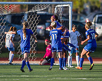 Boston Breakers forward Sydney Leroux (2) celebrates her goal with teammates Boston Breakers defender Julie King (8), Boston Breakers midfielder Joanna Lohman (11) and Boston Breakers forward Lianne Sanderson (10).  In a National Women's Soccer League Elite (NWSL) match, the Boston Breakers defeated  Chicago Red Stars 4-1, at the Dilboy Stadium on May 4, 2013.