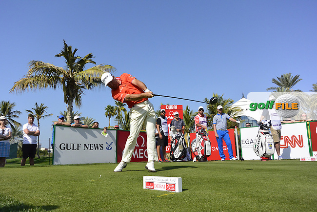 Graeme McDOWELL (NIR) tees off the 13th tee during Sunday's Final Round of the 2015 Omega Dubai Desert Classic held at the Emirates Golf Club, Dubai, UAE.: Picture Eoin Clarke, www.golffile.ie: 2/1/2015