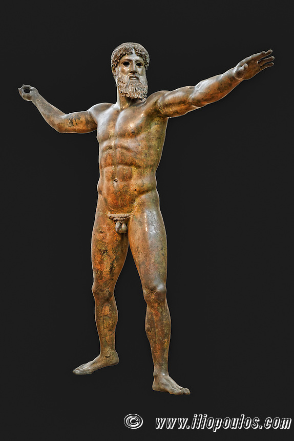 Bronze statue of Zeus or Poseidon (460 B.C.) in National Museum, Greece
