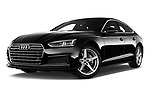 Stock pictures of low aggressive front three quarter view of 2018 Audi A5 Sportback Premium Plus  5 Door Hatchback