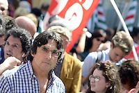 Roma, 20 Maggio 2015<br /> Piero Bernocchi leader Cobas scuola<br /> Protesta in Piazza Montecitorio contro il DDL scuola in discussione e votazione alla Camera