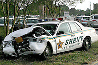 11/16/04......Gary Wilcox/staff....... This Deputy Sheriff's  Car was driven by St. Johns County Deputy Daniel Barnhart (age 29). in the fatal crash on A1A in Ponte Vedra  near the Shoppes of Ponte Vedra. Deputy Barnhart was taken to the Hospital.