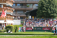 Rory Mcilroy (NIR) in action on the 1st hole during third round at the Omega European Masters, Golf Club Crans-sur-Sierre, Crans-Montana, Valais, Switzerland. 31/08/19.<br /> Picture Stefano DiMaria / Golffile.ie<br /> <br /> All photo usage must carry mandatory copyright credit (© Golffile | Stefano DiMaria)
