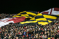 College Park, MD - October 22, 2016: Maryland Terrapins students hold the Maryland flag during game between Michigan St. and Maryland at  Capital One Field at Maryland Stadium in College Park, MD.  (Photo by Elliott Brown/Media Images International)