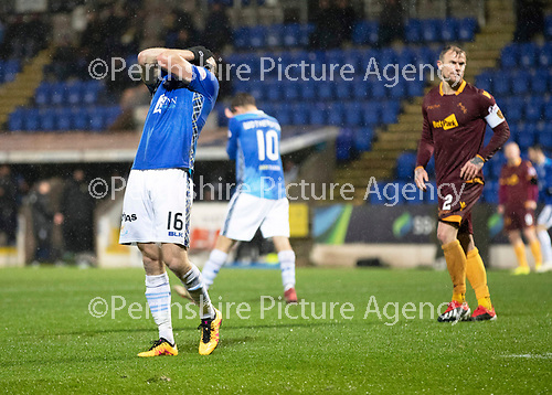 St Johnstone v Motherwell…15.12.18…   McDiarmid Park    SPFL<br />David McMillan holds his head in his hands after shooting wide<br />Picture by Graeme Hart. <br />Copyright Perthshire Picture Agency<br />Tel: 01738 623350  Mobile: 07990 594431