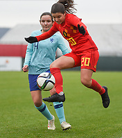 20190206 - TUBIZE , BELGIUM : Belgian Luna Vanzeir (R) and Dutch Bodil van den Heuvel (L) pictured during the friendly female soccer match between Women under 17 teams of  Belgium and The Netherlands , in Tubize , Belgium . Wednesday 6th February 2019 . PHOTO SPORTPIX.BE DIRK VUYLSTEKE