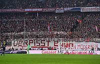 Fussball  1. Bundesliga  Saison 2016/2017  16. Spieltag  FC Bayern Muenchen - RB Leipzig        21.12.2016 Ausgerechnet die Fans des FC Bayern Muenchen hissen ein kritisches RB Leipzig Banner im Stadion der Allianz-Arena und kritisieren damit den Kommerz im Fussball