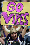 Minnesota Vikings fan cheers for the Vikings during their 20-30 loss to the Seattle Seahawks at CenturyLink Field in Seattle, Washington on  November 4, 2012.     ©2012. Jim Bryant Photo. All Rights Reserved.