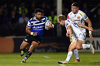 Cooper Vuna of Bath Rugby in possession. Gallagher Premiership match, between Bath Rugby and Exeter Chiefs on October 5, 2018 at the Recreation Ground in Bath, England. Photo by: Patrick Khachfe / Onside Images