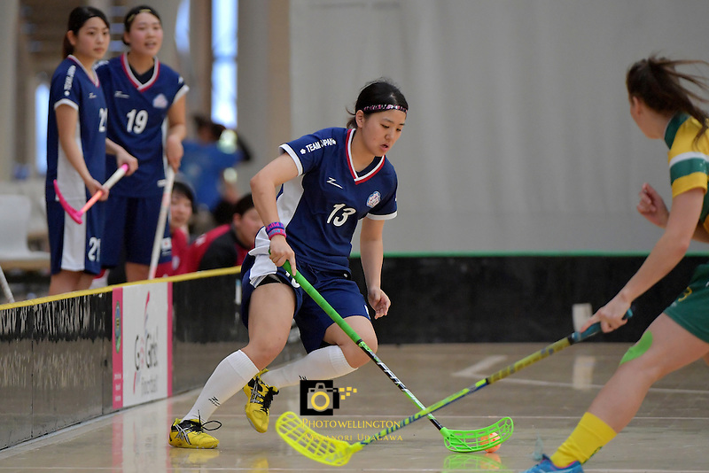 Japan's Rei Goto in action during the World Floorball Championships 2017 Qualification for Asia Oceania Region Final - Australia v Japan at ASB Sports Centre , Wellington, New Zealand on Sunday 5 February 2017.<br /> Photo by Masanori Udagawa<br /> www.photowellington.photoshelter.com.